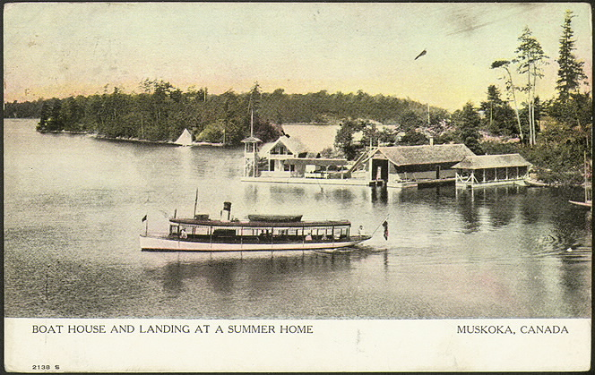 Boat house and landing at a summer home, Muskoka