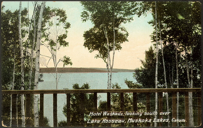 Hotel Waskada, looking south over Lake Rosseau, Muskoka