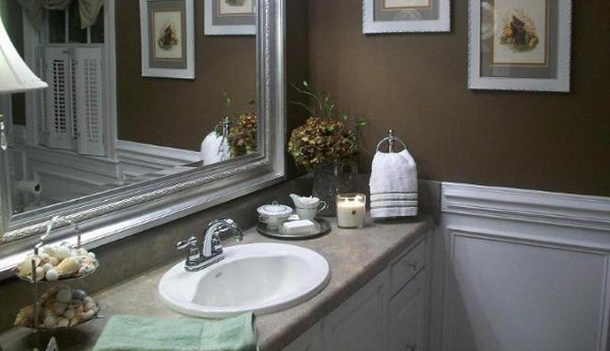 Create instant drama for your guest bathroom