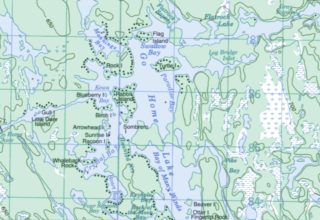 Topographical Map of Go Home Lake -  - Muskoka