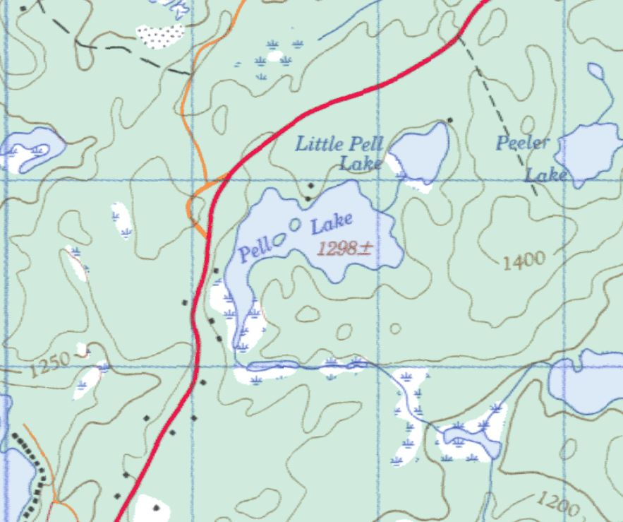 Topographical Map of Pell Lake -