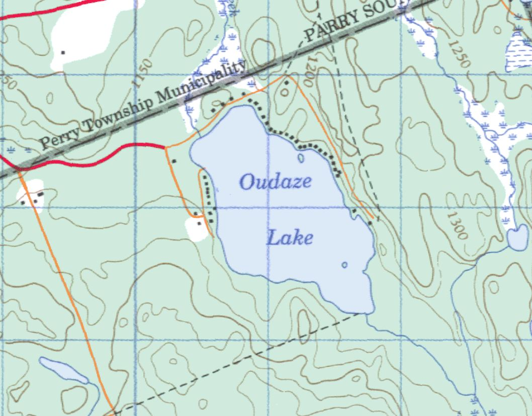 Topographical Map of Oudaze Lake -