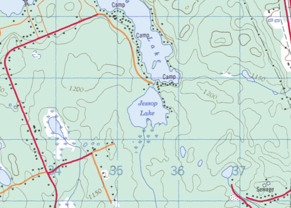 Topographical Map of Jessop Lake -  - Muskoka