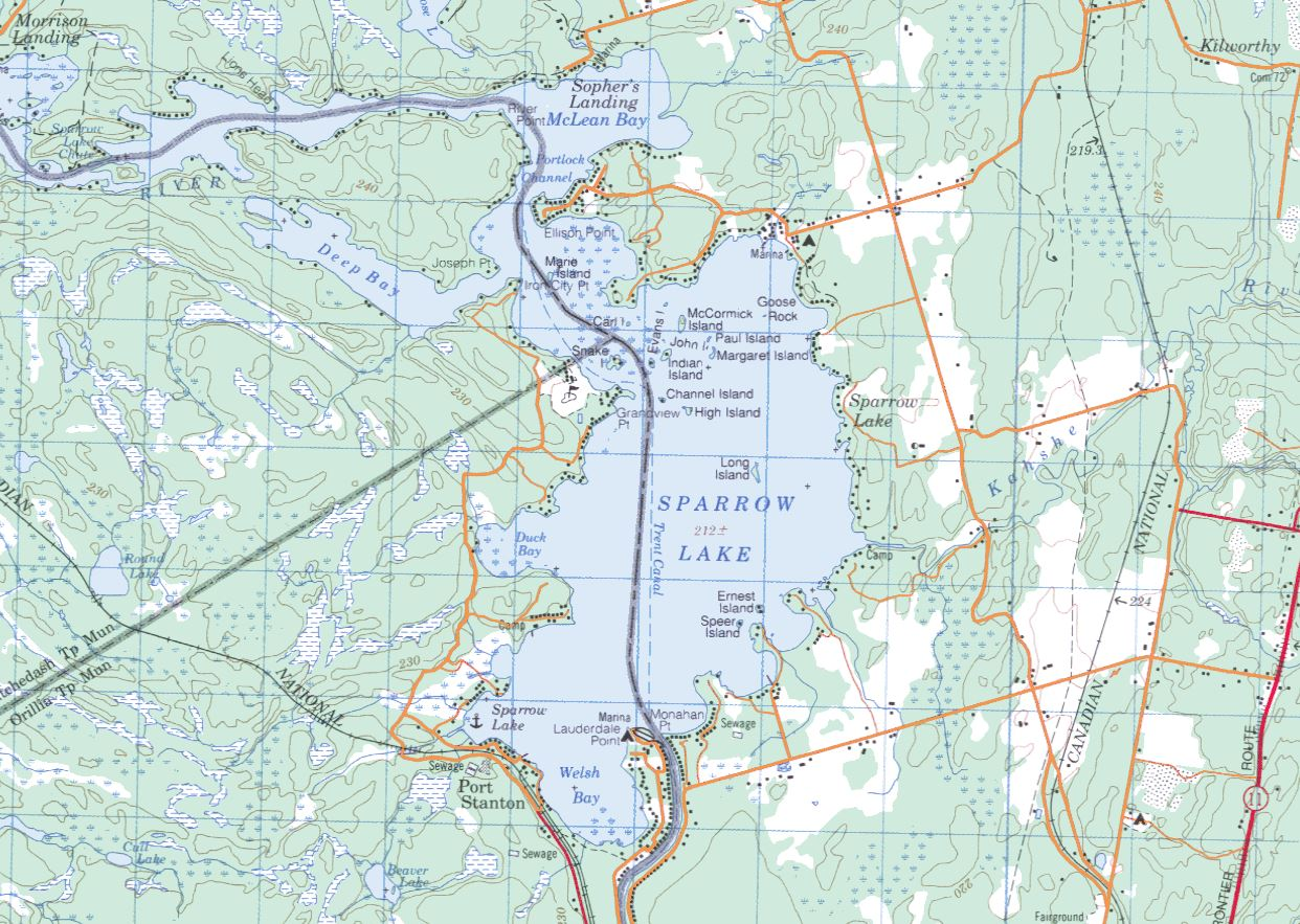 Topographical Map of Sparrow Lake -  - Muskoka