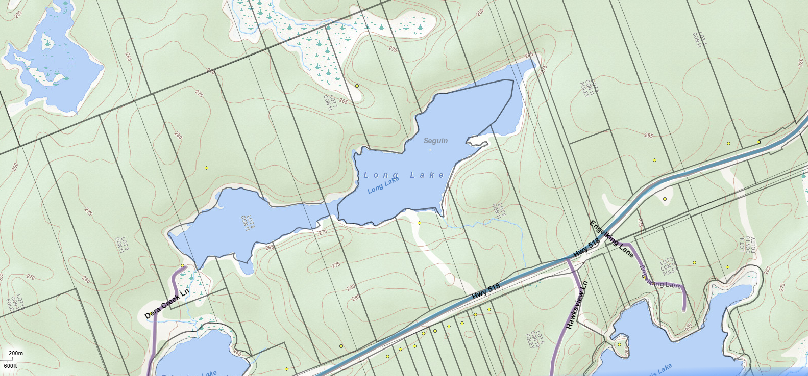 Long Lake Cadastral Map - Long Lake - Muskoka