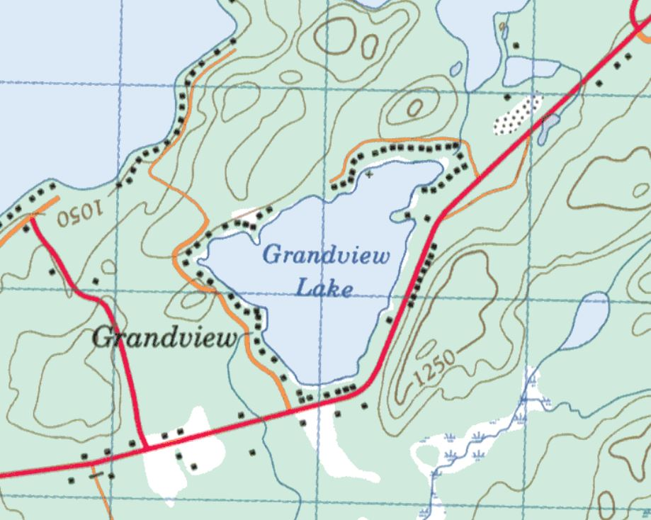 Topographical Map of Grandview Lake -  - Muskoka