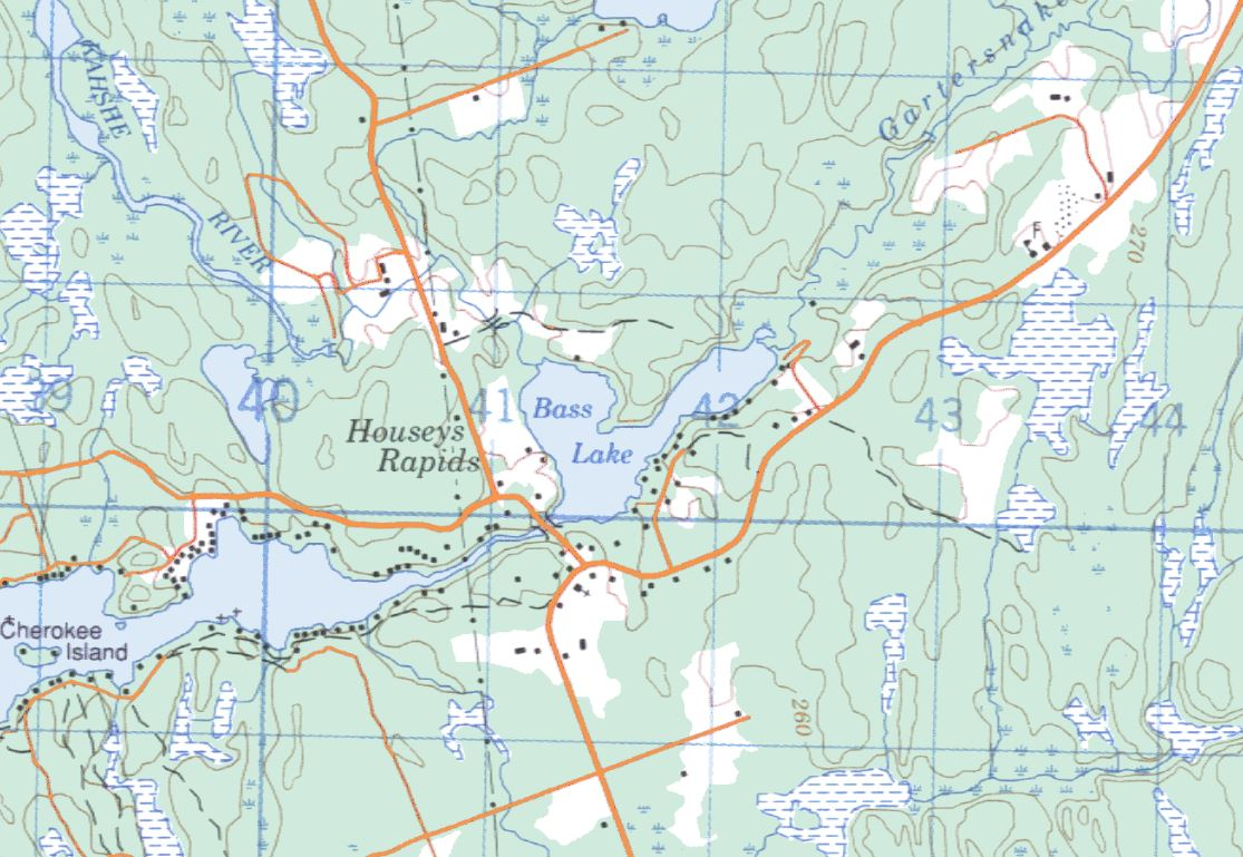 Topographical Map of Bass Lake -