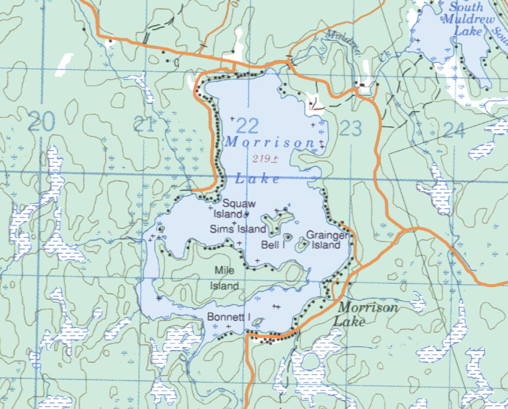 Topographical Map of Morrision Lake -
