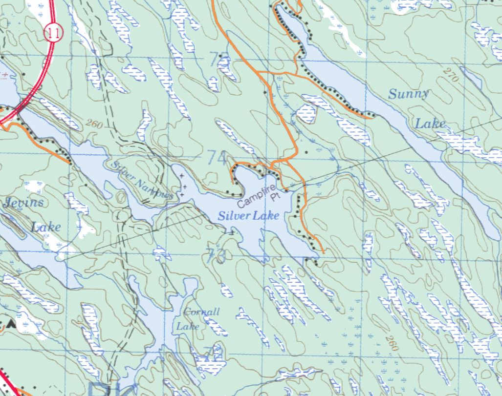 Topographical Map of Silver Lake -