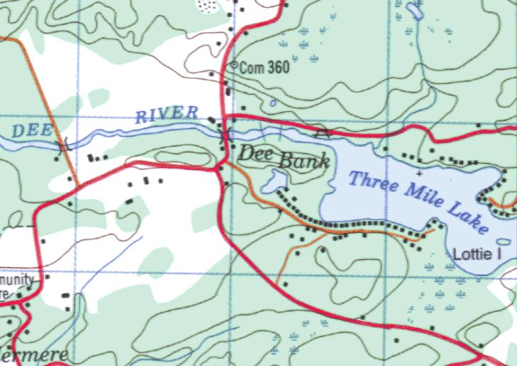 Topographical Map of Three Mile Lake -  - Muskoka