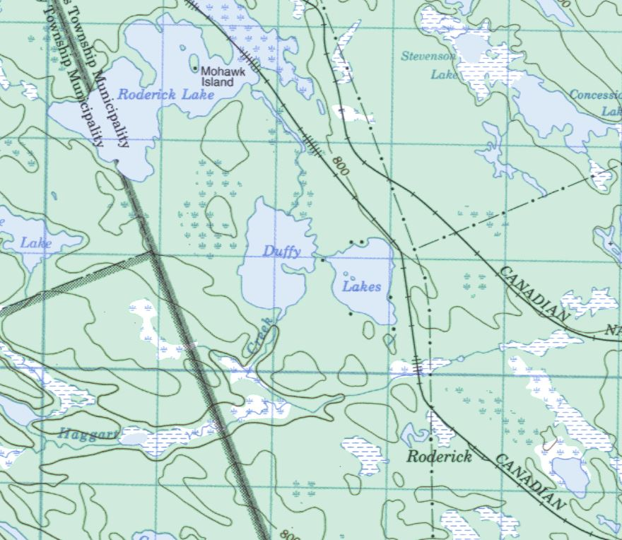 Topographical Map of Duffy Lake -  - Muskoka