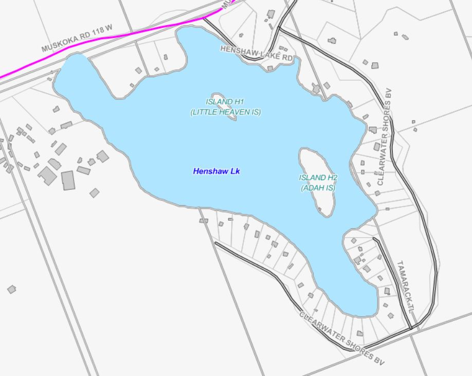 Cadastral Map of Henshaw Lake -  - Muskoka