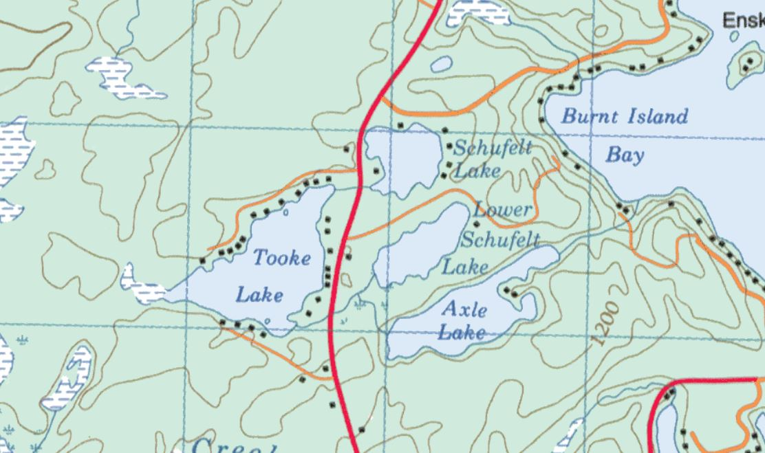 Topographical Map of Lower Schufelt Lake -