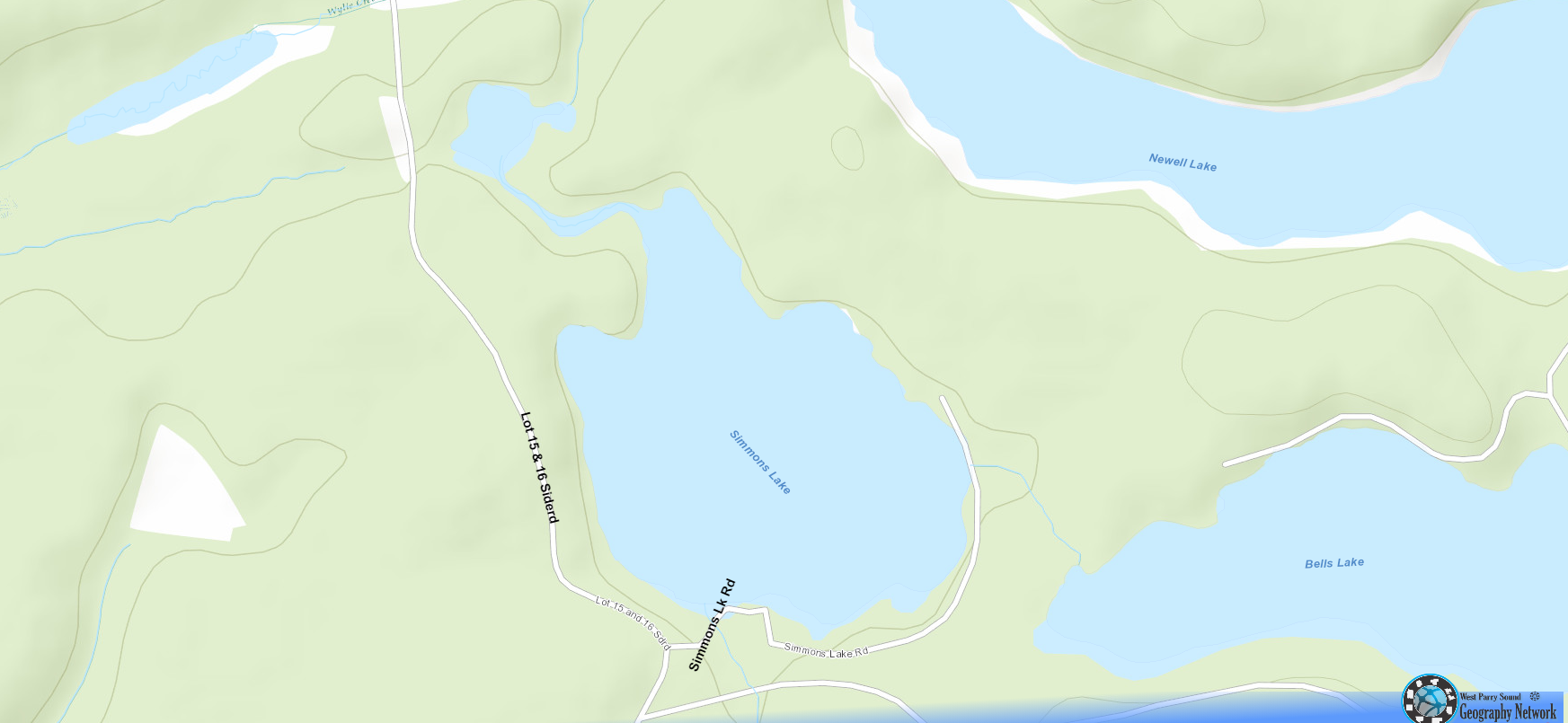 Simmons Lake Cadastral Map - Simmons Lake - Muskoka