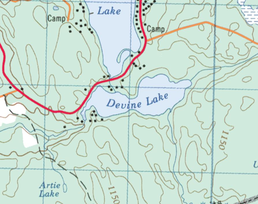 Topographical Map of Devine Lake -