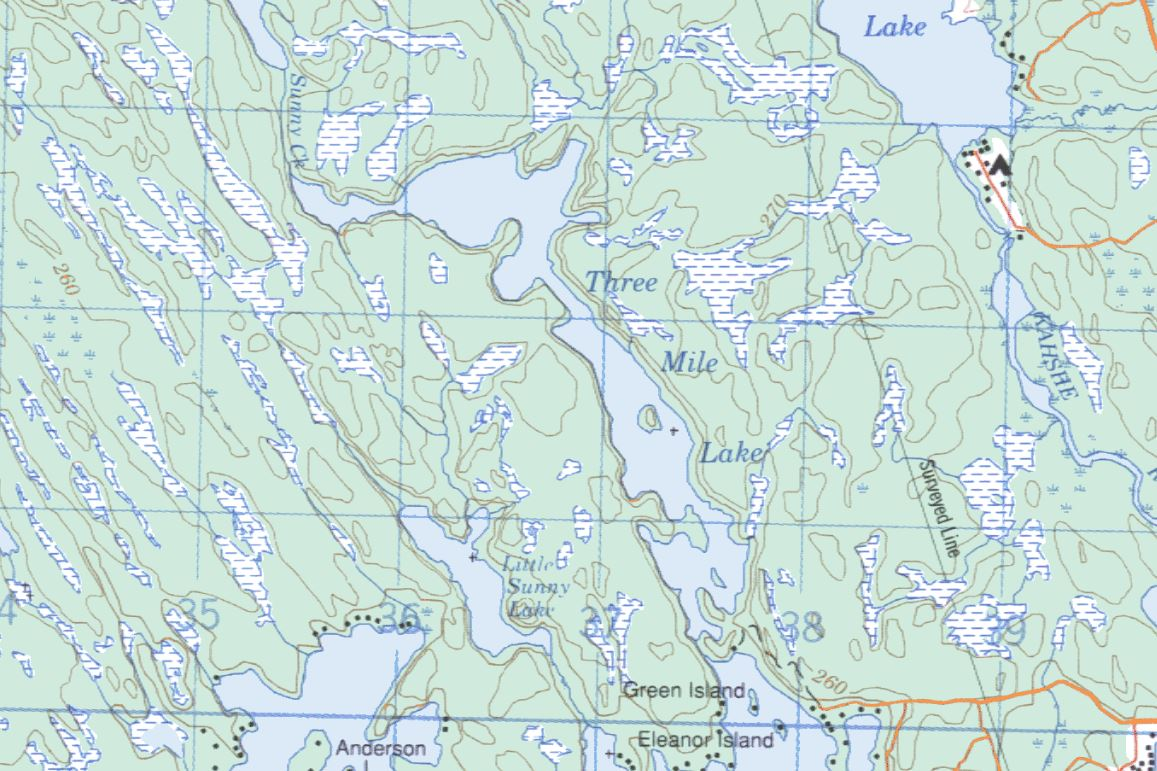 Topographical Map of Three Mile Lake -