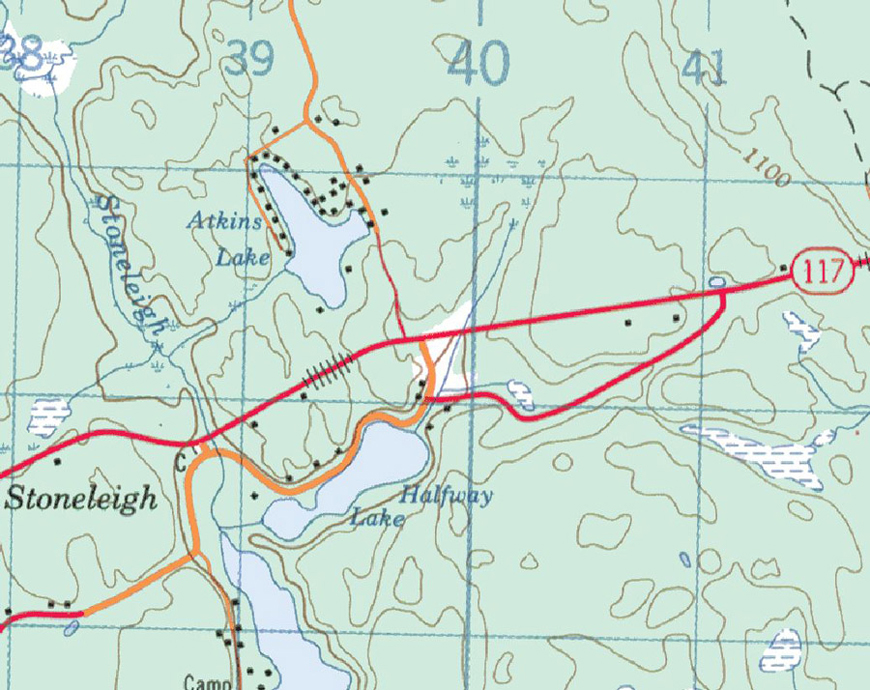 Topographical Map Atkins Lake - Atkins Lake - Muskoka