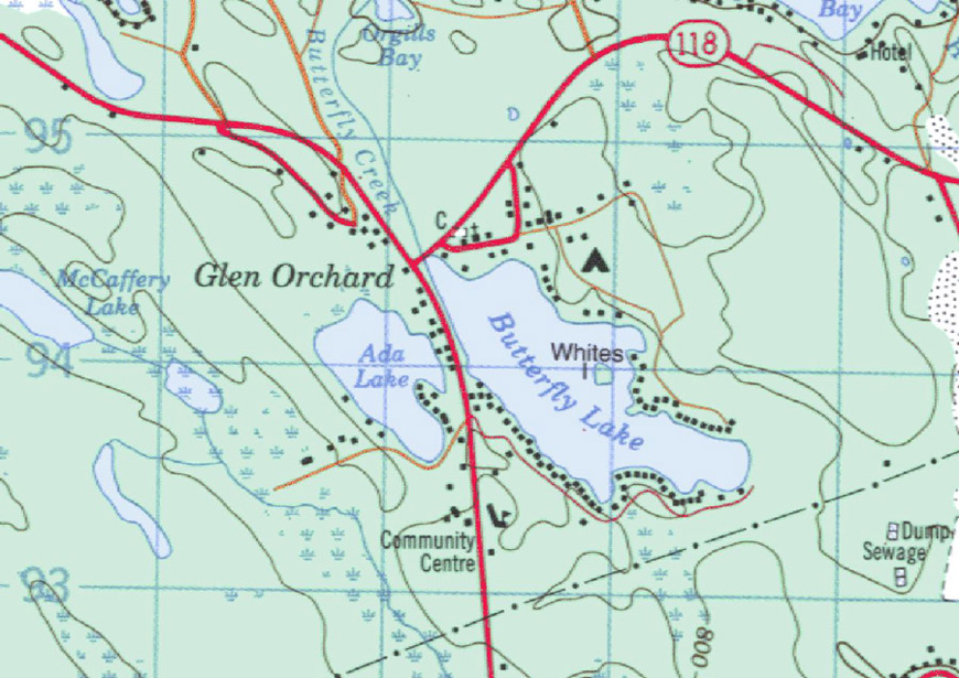 Topographical map of Butterfly Lake - Butterfly Lake