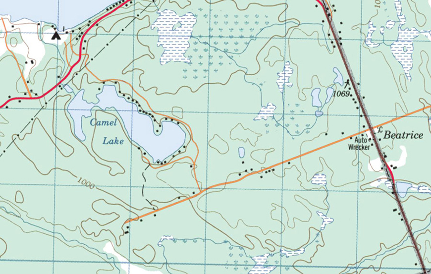 Topographical Map of Camel Lake - Camel Lake