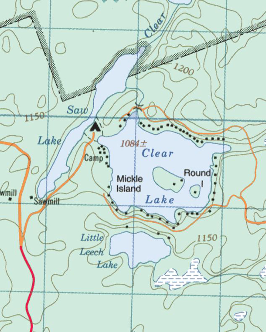 Topographical map of Clear Lake - Clear Lake