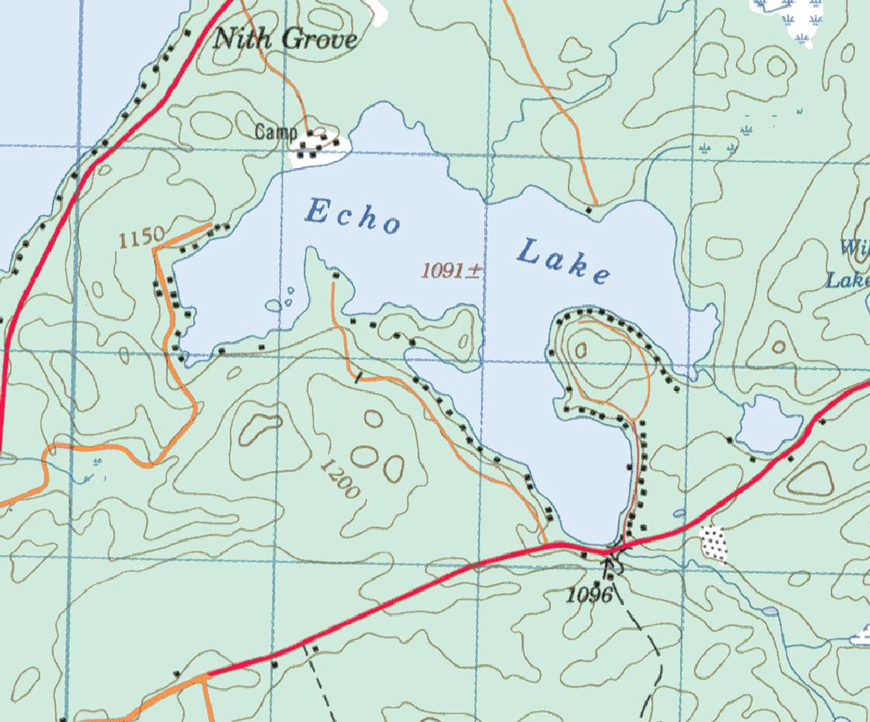 Echo Lake Topographical Map - Echo Lake