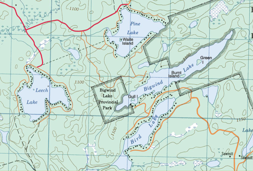 Topographical map of Leech Lake - Leech Lake