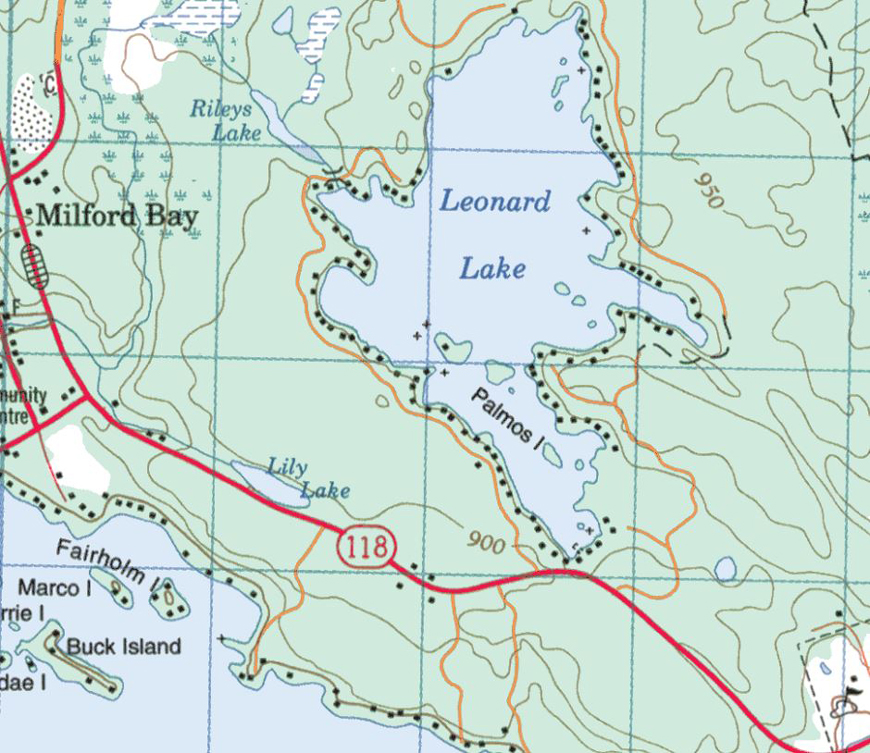 Topographical Map of Leonard Lake - Leonard Lake - Muskoka