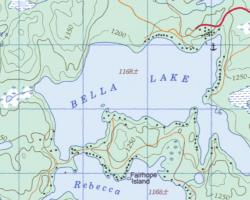 Topographical Map of Bella Lake