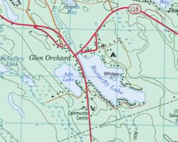 Topographical Map of Butterfly Lake