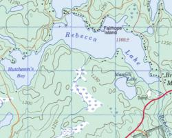 Topographical map of Rebecca Lake
